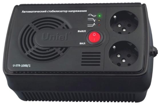 цены Стабилизатор напряжения Uniel U-STR-1000/1 2 розетки черный