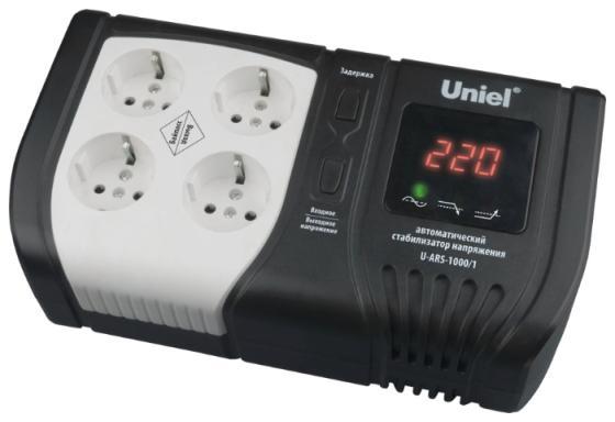 Стабилизатор напряжения Uniel U-ARS-1000/1 4 розетки черный стабилизатор напряжения uniel expert 09622 1000ва u ars 1000 1