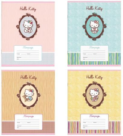 Тетрадь школьная Action! Hello Kitty 12 листов линейка скрепка HKO-AN-1201/1-2