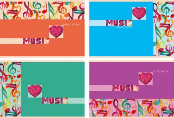 Тетрадь нотная Би Джи Цветная Музыка 24 листа линейка скоба Тн5ск24 1373 в ассортименте Тн5ск24 1373 косметика джи джи цена