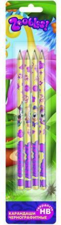 Карандаши чернографитные Action! Zoobles 4 шт ZB-ALP185/4 ZB-ALP185/4 набор шариковых ручек action zoobles 3 шт zb abp152 3 zb abp152 3