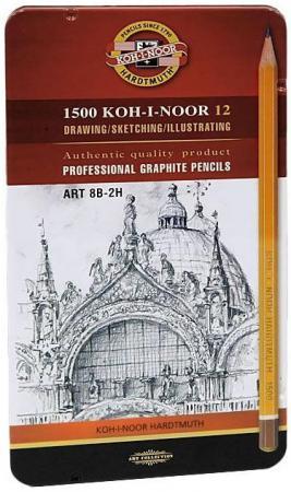 Карандаши чернографитные Koh-i-Noor Art 8B-2H 12 шт 17.5 см 1502/II 08PL