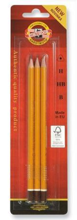 Карандаши чернографитные Koh-i-Noor 1580/3 3 шт в блистерной упаковке 1580/3 цена и фото