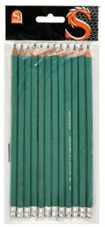 Карандаш графитовый SPONSOR SLB021 пластиковый зеленый корпус c ластиком
