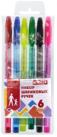 Набор шариковых ручек Action! ABP0601 6 шт разноцветный ABP0601 цена