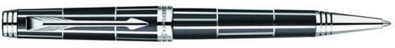 Ручка шариковая PREMIER Luxury Black CT, черн., с гравировкой, посеребр. детали, черные чернила, M PARKER-S1876393