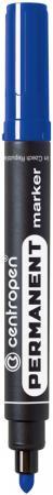 Маркер перманентный Centropen 8566/С 2.5 мм синий маркер флуоресцентный centropen 8722 1о оранжевый 8722 1о