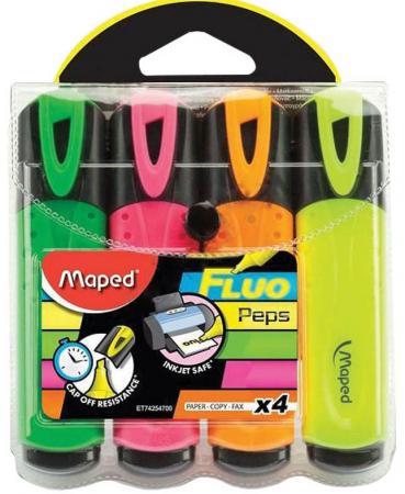 Набор текстмаркеров Maped Fluo Pep's Classic 1 мм 4 шт разноцветный 742547 742547 maped набор цветных карандашей color pep s jumbo 18 цветов