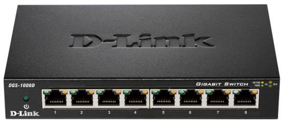 Коммутатор D-LINK DGS-1008D/J2A неуправляемый 8 портов 10/100/1000Mbps
