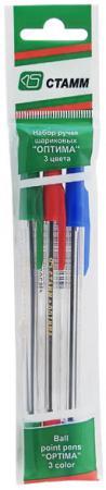 Набор шариковых ручек СТАММ РО06 3 шт разноцветный 1 мм РО06 набор из 3 х шариковых ручек winx fairy couture