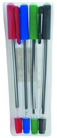 Набор шариковых ручек СТАММ РС07 4 шт разноцветный 1 мм РС07 набор фломастеров стамм веселые игрушки 1 мм 6 шт разноцветный фв02