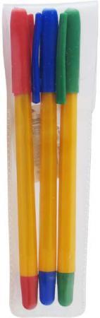 Набор шариковых ручек СТАММ РС16 3 шт разноцветный 1 мм РС16 набор из 3 х шариковых ручек winx fairy couture