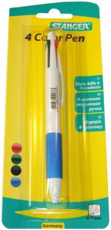 Шариковая ручка автоматическая Stanger 18000300036 синий красный черный зеленый 0.7 мм 18000300036 шариковая ручка автоматическая action abp201 4 синий зеленый красный черный
