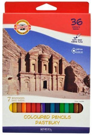 Набор цветных карандашей Koh-i-Noor 7 Чудес Света 36 шт 3655/36 27KS набор цветных карандашей koh i noor 7 чудес света 12 шт 3652 12 27ks