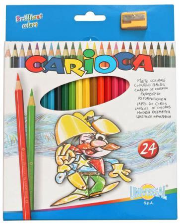 Набор цветных карандашей Universal Carioca 24 шт 17.5 см односторонние 40381 + точилка 40381 набор цветных карандашей universal carioca 24 шт 17 5 см односторонние 40381 точилка 40381