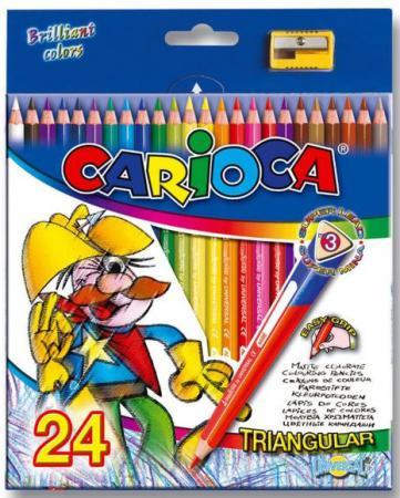 Набор цветных карандашей Universal Carioca Triangular 24 шт 42516/24 + точилка набор карандашей carioca bicolor 43031 48 цветов 24 шт