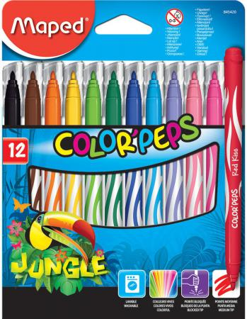 Набор фломастеров Maped JUNGLE 2.8 мм 12 шт разноцветный 845420 фломастеры maped jungle 24 цвета