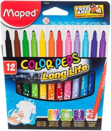 Набор фломастеров Maped COLOR PEPS 3.6 мм 12 шт разноцветный 845020 845020 maped карандаши цветные color peps треугольные 12 цветов maped
