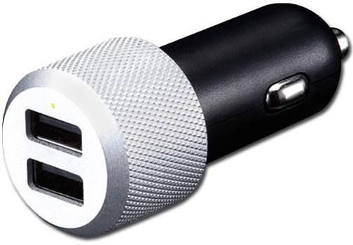 купить Автомобильное зарядное устройство Just Mobile Highway Max CC-128S 2.4А 2 х USB серебристый по цене 790 рублей