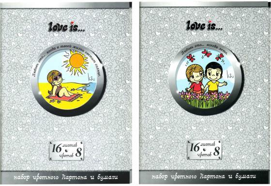 Набор цветного картона Action! LOVE IS A4 16 листов LI-CCP-16/8 набор цветного картона action 4680291047692 a4 6 листов