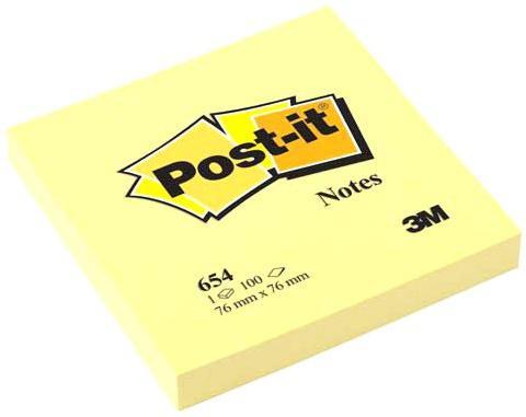 Бумага с липким слоем 3M 100 листов 76x76 мм желтый 654-RU цена и фото