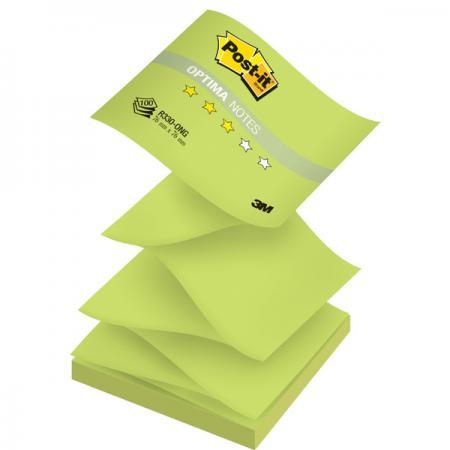 Бумага для заметок с липким слоем POST-IT OPTIMA -Весна, 76х76 мм, зеленый неон, Z-слож., 100 л. R330-ONG блок самоклеящийся бумажный 3m post it optima зима 654 ops 7100041129 76x76мм 100лист пастель сереб