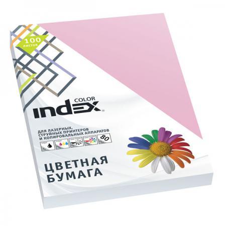Бумага цветная Index Color, 100 листов, А4, розовый IC25/100 блокнот index in0103 a550 a5 50 листов в ассортименте