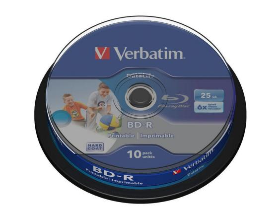 Диски BluRay Verbatim BD-R 25Gb 6x CakeBox Printable 10шт 43804 диски bluray verbatim bd r 25gb 6x 10 шт cakebox printable 43804