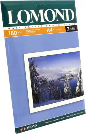 Бумага Lomond A4 180г/кв.м матовая односторонняя 0102037 25л фотобумага lomond a4 180г м2 25л матовая 0102037