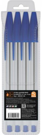 Набор шариковых ручек SPONSOR SBP601/S4-1 4 шт синий 0.7 мм канцелярия berlingo набор автоматических шариковых ручек f 10 цвет синий 4 шт