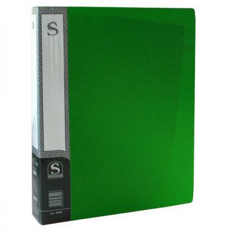 Папка с 80 файлами, форзац, ф.А4, зеленая SDB80/GN