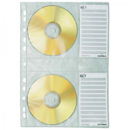 Вкладыш с перфорацией для 4х CD-дисков, ф. А4, 5 шт. 5222-19 вкладыш уголок с перфорацией leitz combifile ф а4 5 шт 200 мкм синий 47260035