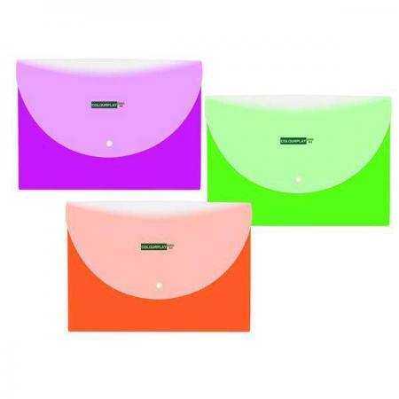 Фото - Папка-конверт COLOURPLAY с кнопкой, горизонтальная, ф. А4, 2 отделения, ассорти, 5 цветов, 180мкм IPF320 IPF320 папка меню ф а4 pvc ассорти