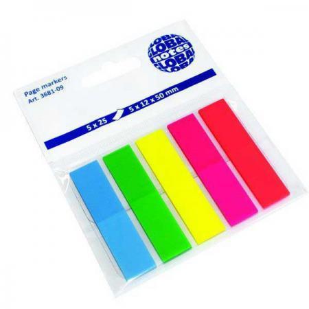 цена Бумага с липким слоем Global 125 листов 12х50 мм голубой зеленый желтый розовый красный 3681-09