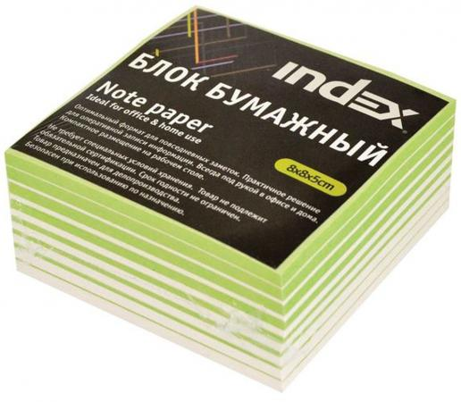 Блок бумажный Index 80х80х50 мм белый зеленый