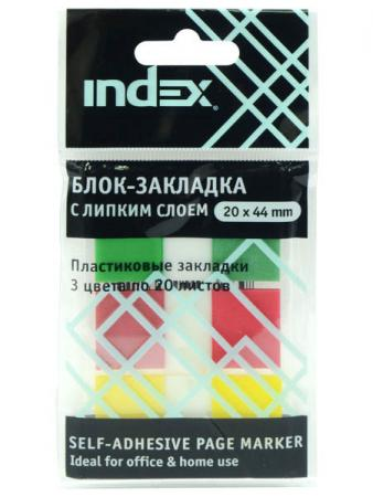 Стикер Index 60 листов 20х44 мм многоцветный I465810 блокнот index in0101 a460 a4 60 листов в ассортименте