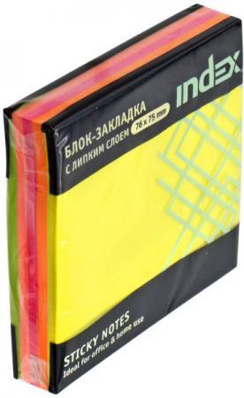 Бумага с липким слоем Index 150 листов 76x76 мм многоцветный РАДУГА I444810 цены