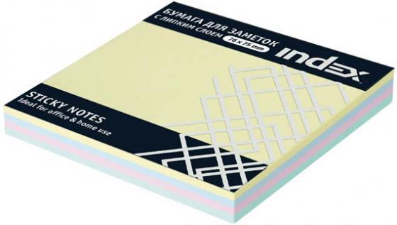 Бумага с липким слоем Index 100 листов 76х75 мм многоцветный РАДУГА I433810 бумага с липким слоем index 160 листов 12х44 мм многоцветный