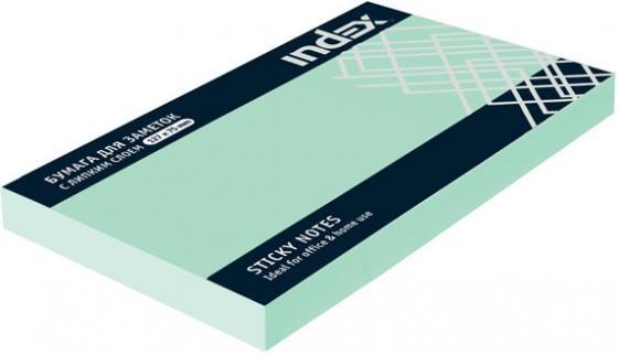 Бумага с липким слоем Index 100 листов 125х75 мм зеленый I435803