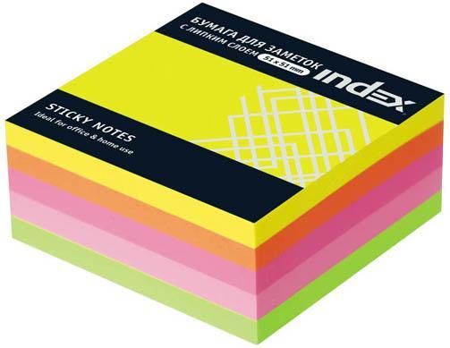 Бумага с липким слоем Index 250 листов 51х51 мм многоцветный МИНИ-КУБ I436810 цена и фото