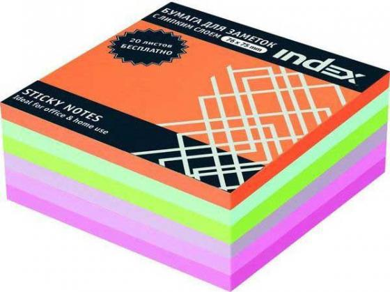 Бумага с липким слоем Index 300 листов 76х75 мм многоцветный РАДУГА I443810 бумага с липким слоем index 160 листов 12х44 мм многоцветный