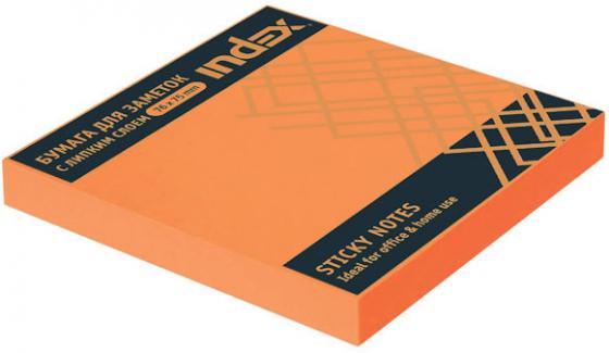 Бумага с липким слоем Index 100 листов 76х75 мм оранжевый I453805