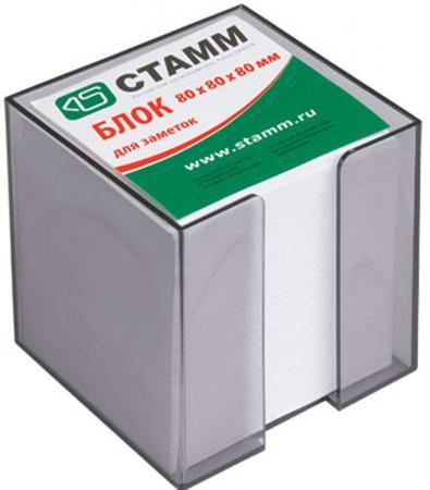 Блок бумажный, белый, в пласт. тонированной серой подставке, разм. 8х8х8 см ПВ22
