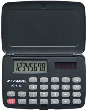 Фото - Калькулятор карманный Assistant AC-1152 8-разрядный AC-1152 калькулятор инженерный assistant 10 2 разрядный 228 функций