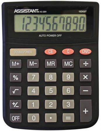 Фото - Калькулятор настольный Assistant AC-2201 10-разрядный черный калькулятор инженерный assistant 10 2 разрядный 228 функций
