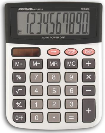 Калькулятор настольный Assistant AC-2233 10-разрядный серебристый калькулятор assistant ac 1191 8 разрядный цвет серебристый