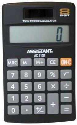 Калькулятор карманный Assistant AC-1102 8-разрядный черный калькулятор настольный assistant ac 2132 8 разрядный ac 2132