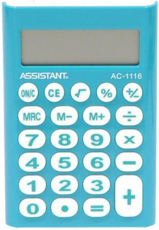 Калькулятор карманный Assistant АС-1116 8-разрядный калькулятор настольный assistant ac 2132 8 разрядный ac 2132