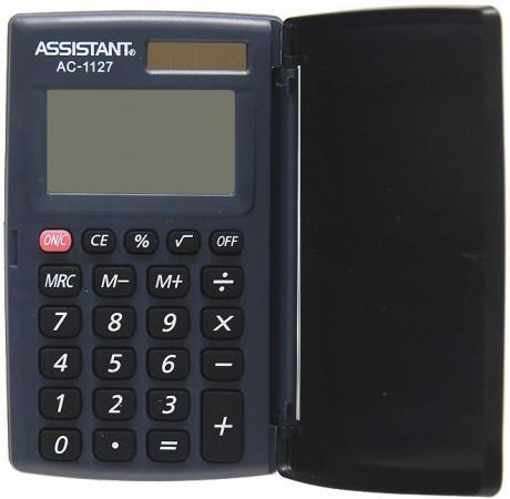 Калькулятор карманный Assistant AC-1127 8-разрядный калькулятор настольный assistant ac 2132 8 разрядный ac 2132