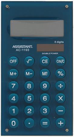 Калькулятор карманный Assistant AC-1193Mareno 8-разрядный калькулятор assistant ac 1193 8 разрядный цвет зеленый
